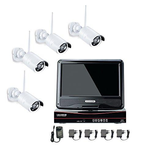 720p 4pcs Kanals drahtlosen Funk Überwachungskamera Set Fernzugriff IP Monitor Funk Überwachungsset Kameras, Innen/Außen Nachtsicht Kameras Funk Haus HD Mit 1* 1T Festplatte