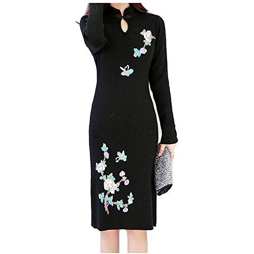 ALUK- Stile cinese - Maglione basa la camicia spessa Autunno Inverno Cheongsam vestito dal maglione a manica lunga ( colore : Nero , dimensioni : M )
