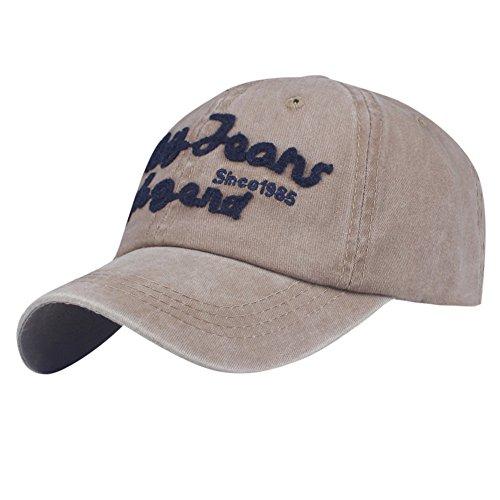 Qmber Herren Golf Sports Flexible Cap Metal Hat Soft Brim Lightweight Running Hat Waterproof Breathable Quick Dry Sport Cap for Men and Woman Denim Patch Vintage lässige Stickerei/Khaki4 -