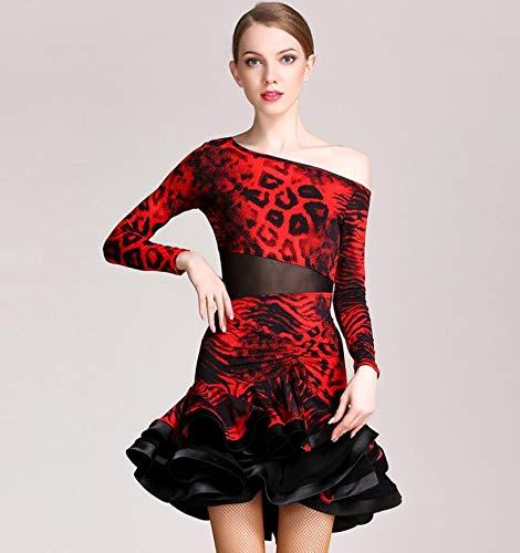 WSJS Frauen Latin Dance Dress Leopardenmuster Wettbewerb Kostüm Adult Dance Practice Performance Rock blau rot S M L XL - Tanz Kostüm Mädchen Großbritannien
