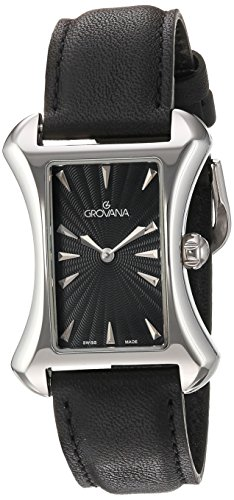 GROVANA 4422.1537 Women's Quartz Swiss Watch with Black Dial Analogue Display and Black Leather Strap