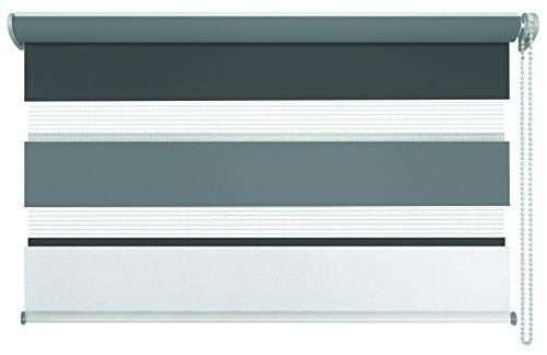 mydeco® Duo-Rollo Fensterrollo Klemmfix ohne Bohren, Farbe Triple: Weiß, Grau, Anthrazit 80 x 210 cm Seitenzugrollo Doppelrollo inkl. Klemmträger