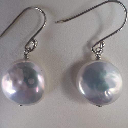 Klassische Münze Perle Sterling Silber Ohrringe