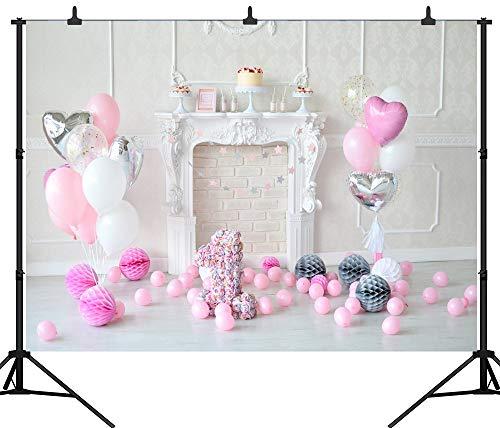 GzHQ PGT119C Fotohintergrund, zum 1. Geburtstag, Luftballons, Kuchen, nahtlos, Vinyl, Fotohintergrund