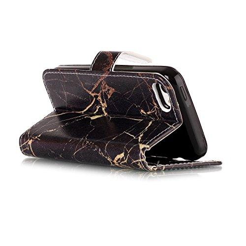 iPhone 5C Coque Protection Wallet ,iPhone 5C Coque Flip Leather, Slynmax Sillet de Portefeuille [Slot de Carte][Fermeture Magnétique][Fonction Stand][Cuir PU] Étuis Protecteurs Ultra Minces Étuis Prot Noir Marbre