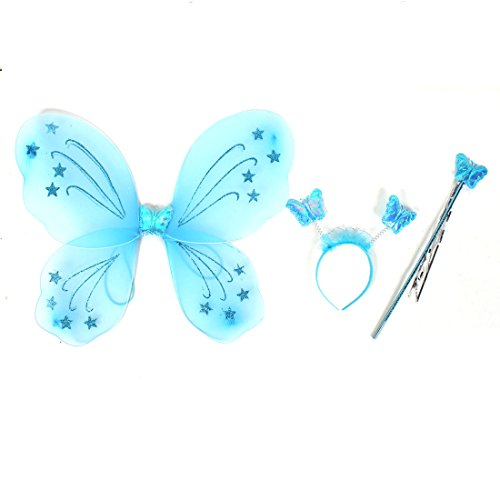 sourcingmap® Mädchen Schmetterling Fee Angel Wings Zauberstab Warnung Bopper-hut Set Party Kostüm - Blau, Damen, Einheitsgröße