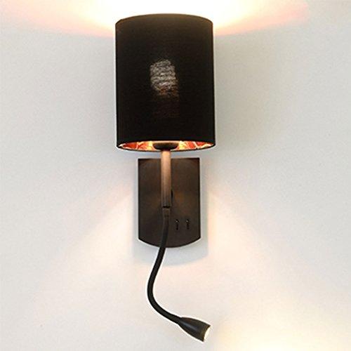 CHENGYI Applique Murale, Chambre de chevet lampe de lecture murale simple moderne hôtel salon étude décoration nuit lumière ( Couleur : Noir )