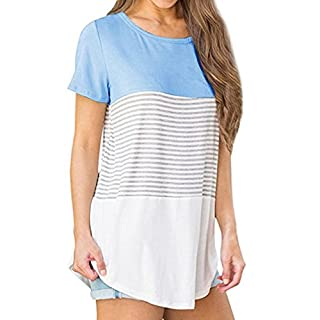 WSSB Women Triple Color Block Stripe T-Shirt Casual Blouse Clearance Blouse New Look Retro Geometry Sexy Teen Girls Blouses On Sale Ribbed Tops Casual Bohemia Tops Blouse 2018 T-Shirt For Women (M)
