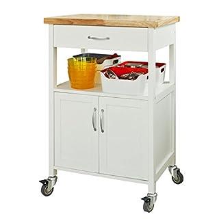 SoBuy® FKW22-WN, Kitchen Storage Trolley Cart with Doors and Drawer, Kitchen Cabinet, Storage Cabinet on Wheels