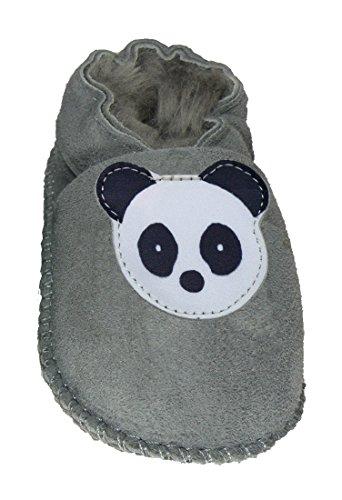 Plateau Tibet - Chaussons Chaussures bébé en cuir souple avec doublure en VERITABLE laine d'agneau bottines garçon fille enfant - Panda