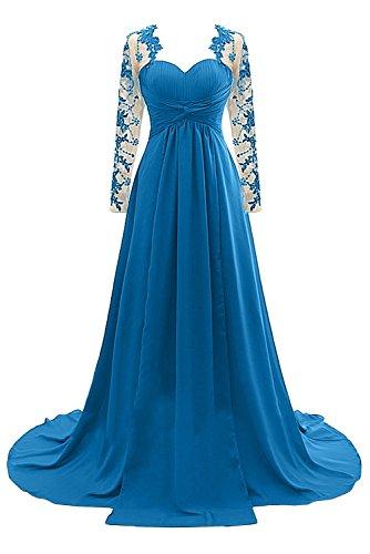 Gorgeous Bride Elegant Lang Ärmel Chiffon Tüll Spitze A-Linie Brautmutterkleider Abendkleider Lang Cocktailkleider Ballkleider Blau