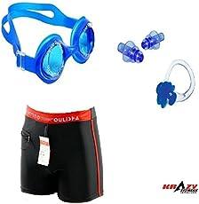 Krazy KF-190 3 in 1 Swimming KIt (Nylon Trunk Boxer+ Silicon Goggles + Ear & Nose Clip)