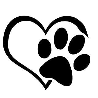 Ccfqiangtie Pet Paw Print with Heart Dog Cat Vinyl Decal Car Window Bumper Sticker Decals Decor Noel Decoration Maison L1211