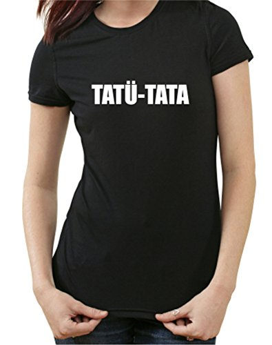 tatu-tata-fun-t-shirt-polizei-feuerwehr-notarzt-notruf-112-110-m-ladies-schwarz