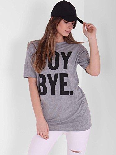 Damen Mädchen Tschüss Boy Print Kurzarm T-Shirt Kleid EUR Größe 36-42 Kurzes T-Shirt