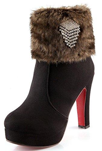 YE Damen Winter High Heels Plateau Warme Stiefeletten Wildleder mit Roter Sohle Blockabsatz Strass Fell Short Ankle Boots Schuhe Schwarz