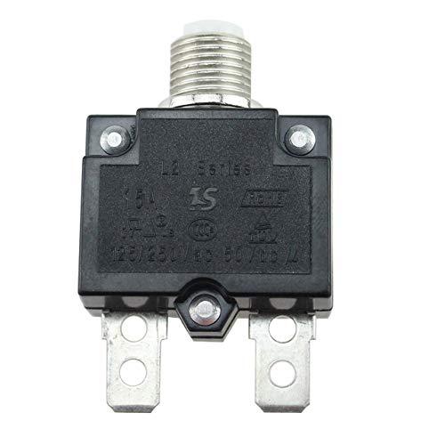 5A / 10A / 15A / 20A / 30A Schutzschalter Wasserdichte Drucktaste Rückstellbare Thermosicherung Schutzschalter Schalttafeleinbau ~ schwarz Ac-leistungsschalter-panel