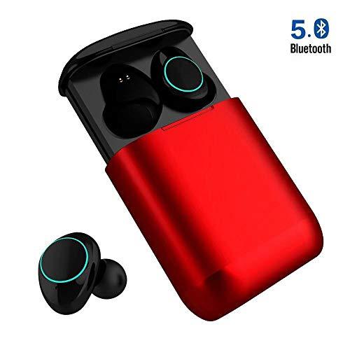 Huyeta Bluetooth Kopfhörer Mini Wireless Earbuds Bluetooth V5.0 True Kabellos Kopfhörer mit Noise Cancelling Bluetooth Ohrhörer wasserfest Bluetooth Headset Stereo mit Mikrofon (Rot)