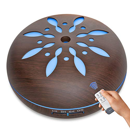 -Diffusor für ätherisches Öl, Holzmaserung mit Fernbedienung, kalter Ultraschall-Ultraschall, bunter Dämpfer, Timing-Luftbefeuchter, 500 ml,Darkwoodgrain ()