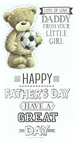 Daddy Father's Day Card - From Little Girl Bear Holding Big Football 9