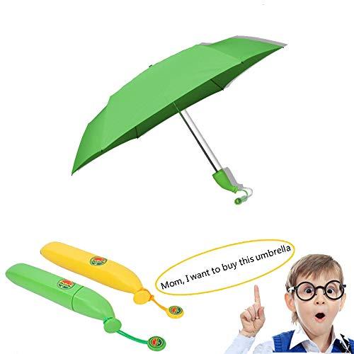 ZXDBK Mini Kinder Umbrella, Leicht Faltender Visier-Sonnenschutz-Regenschirm Im Freien UV-faltender Regenschirm leicht & kompakt,Green