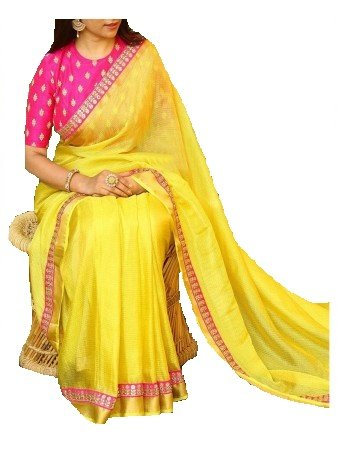 TexStile Women Chanderi Silk Saree with Blouse piece_SE_Yellow_Saree_02
