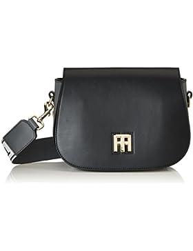 Tommy Hilfiger Damen TH Twist Saddle Bag Logo Schultertasche, Schwarz (Black), 7 x 16 x 22.5 cm