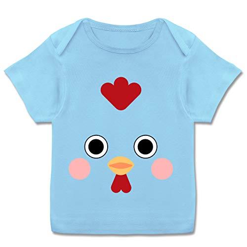 Karneval und Fasching Baby - Hahn Kostüm - 56-62 (2-3 Monate) - Babyblau - E110B - Kurzarm Baby-Shirt für Jungen und (Baby Hahn Kostüm)