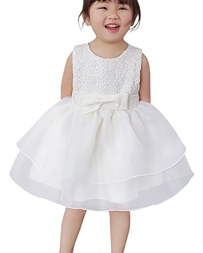 Happy Cherry Baby Taufkleid Süßes Ärmelloses Kleid Babymädchen Kleine Prinzessin Kleider mit Chiffon und Schleife Größe 3 für die Körpergröße 50-59cm(0-3 Monate) - Weiß (Für Kleid Die 1. Kommunion Weißes)