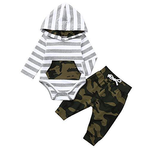 Kobay Baby Born Kleidung Set Infant Baby Langarm gestreift Hoodie Strampler Jumpsuit + Camouflage Pants Outfits(12-18M,Grau) -
