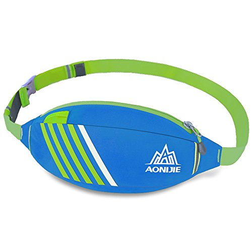 aonijie Outdoor regolabile traspirante Vita Borsa per sport, ciclismo, trekking, bicicletta, Green Blue