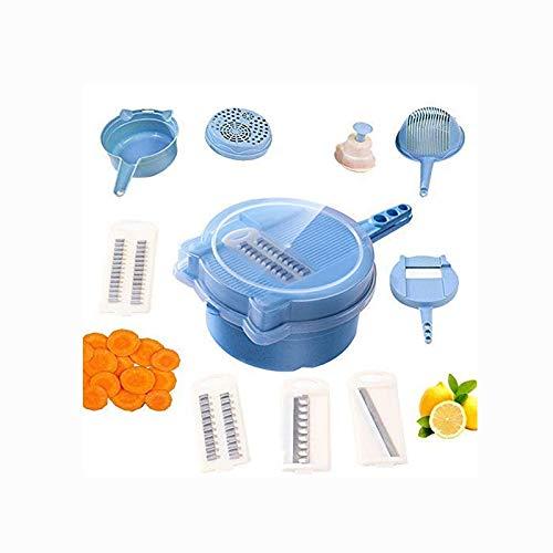 LMCLJJ Gemüseschneider - 9-in-1-Gemüseschneider und -schredder - Küchen-Universalreibe mit Wach- und Eiweißabscheider - kohlenhydratarme Gerichte Veggie & Food Dicer (Color : Blue)