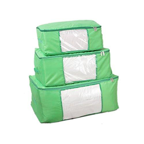 Norcci 3er Oxford Aufbewahrungstasche für Bettdecken Kleidung Kleideraufbewahrung Tasche Box Ordnungssysteme Organizer (#D Grün) Grüne Bettdecken