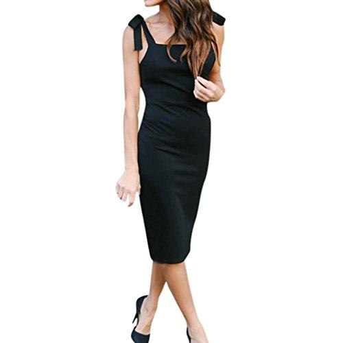 Perlen Knielangen Rock (2018 Neue Dünnes Paket Hüftkleid Damen, DoraMe Frauen Mode Frühling Sommer Abend-Kleid Lässig Solide Partei-Kleid ärmellose Knielangen Kleid Verband Trägerloses Kleid (Schwarz, Asien Größe XL))