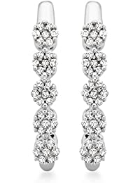 Carissima Gold 9 ct White Gold 0.15 ct Diamond Cluster Drop Earrings