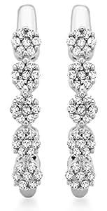 Carissima Gold Damen-Ohrringe 375 9 Karat (375) Weißgold Rundschliff Diamant