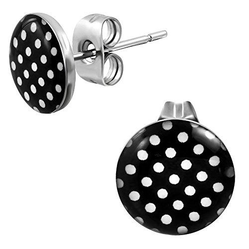 Ohrstecker Polka Dot Schwarz Weiße Punkte – Rockabilly Ohrringe für Damen Ø 10mm Edelstahl - 2
