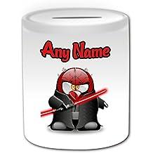 Regalo personalizado–Fighting Darth Maul caja de dinero (pingüino película carácter tema de diseño, color blanco)–cualquier nombre/mensaje en su único–disfraz de superhéroe Movie Hero Star Wars Jedi sable de luz láser Espada dual-bladed Personal de sable