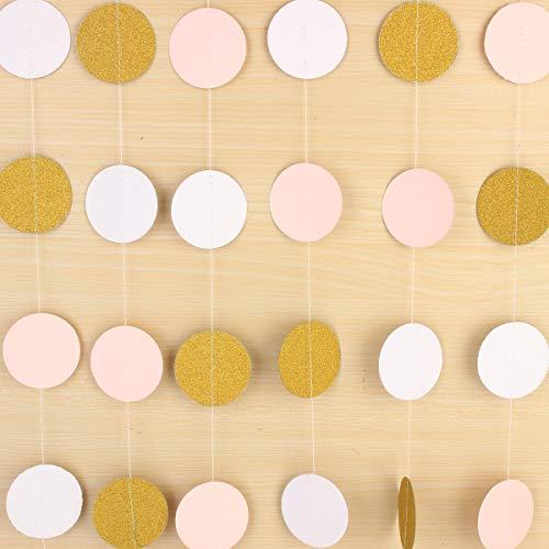 RanDal Pink White & Gold Glitter Circle Polka Dots Paper Garland Banner 10Ft Banner New Decorations