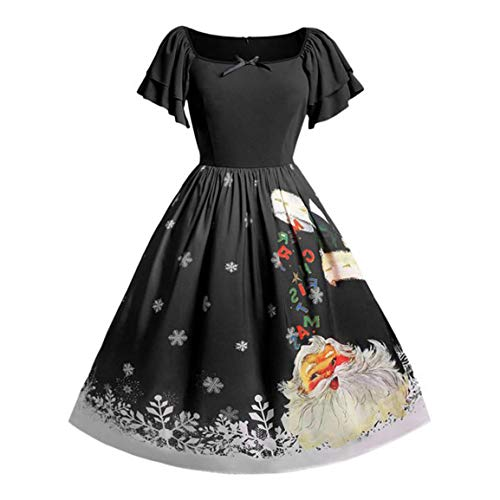 Frauen Mitte der Wade Weihnachten Kleid Damen Plus Size Bow Weihnachtsmann Print Vintage O-Neck Fit Flare Empire Dress ()