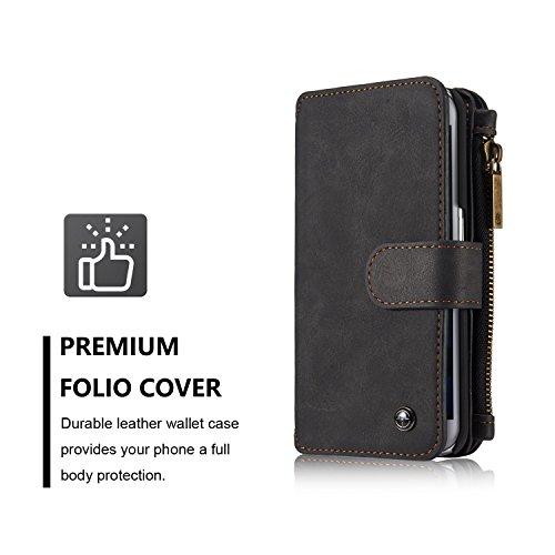 EKINHUI CaseMe abnehmbare Premium Leder Tasche, 13 Card Slots, 1 Foto Frame Zipper Magnetische Abdeckung für Samsung Galaxy S6Edge Wallet Case, ( Color : Red ) Black