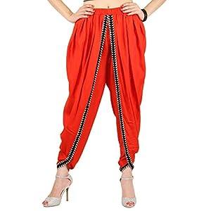 Orange Farbe Rayon Dhoti Hose, Dhoti Salwar, Patiala Dhoti Hose für Damen