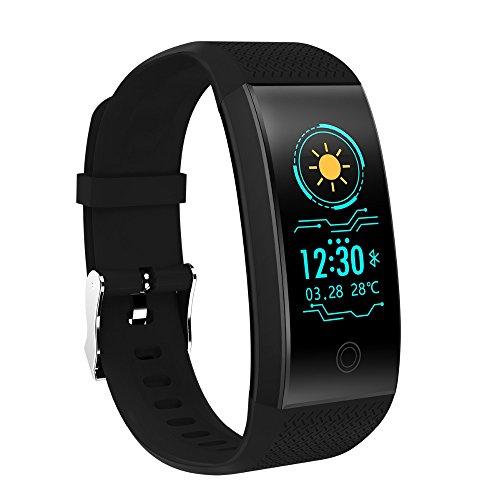 RL Smart Armband Herz Rate Monitor IP68Wasserdicht Farbe Bildschirm Fitness Tracker Band Bluetooth 4.0Sport Armband, Schwarz