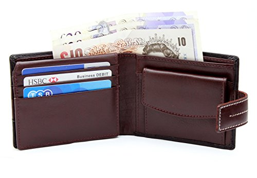 StarHide® Männer Zwei Ton Braun / Schwarz Weiches Leder Zweifach Kreditkartenhalter Geldbörse Münzen Tasche Geldbörse Mit Geschenkbox #1115 (Schwarz / Braun) Schwarz / Braun