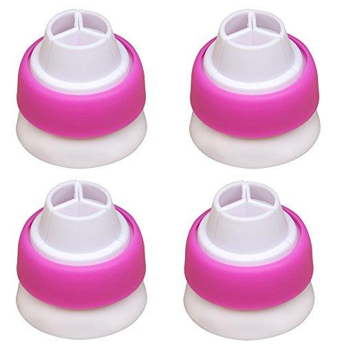 4 pezzi 3 punte Tri-color Ugello a sfera accoppiatore adattatore convertitore - Sac-à-poche Russo Crema sporgenti transverter decorazione strumenti, colore: rosa