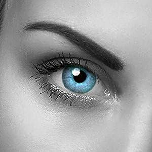 2 Kristallblaue hellblaue Kontaktlinsen + GRATIS Behälter (L&R) für 2 farbige Kontaktlinsen ohne Stärke original von Eye-Effect – Halloween