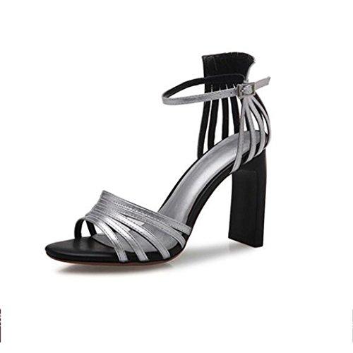 W&LM Signorina Tacchi alti sandali Vuoto Ruvido sandali vera pelle Scarpa Silver