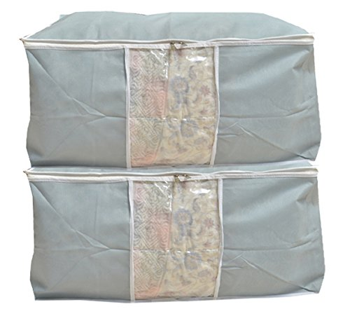 Kuber Industries™ Underbed Storage Bag, Storage Organiser,Blanket Cover Set of 2 Pcs - Grey (Extra Large Size With Handle) Code-UDB05