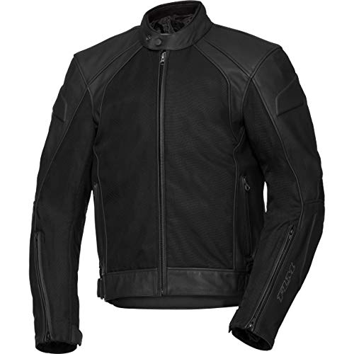 FLM Motorradschutzjacke, Motorradjacke Touren Leder-/Textiljacke 3.0 Herren, 3-in-1 Konstruktion, luftdurchlässige Außenjacke, Reflektoren, Weitenverstellung, Leder/Textil, Schwarz, 56 (Moto-leder-jacke)