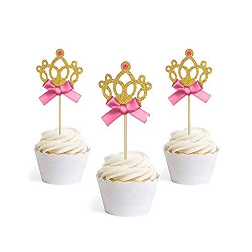 KiyomiQvQ Kuchen Dekoration Prinzessin Krone Geburtstag Dessert Cake Topper Kuchen Dekoration Einfügen 24pcs Einfügen Geburtstagsdeko Kinder Geburtstag Kuchen Deko (Geburtstag Krone Prinzessin)